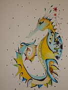 Childrens Prints Paintings - Seahorse by Michelle Thompson