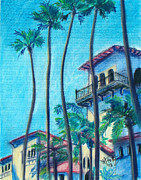 Hall Pastels Posters - Seal Beach City Hall Poster by Michael Foltz
