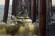 Wood Pylons Photos - Seal Beach Pier Surf by Heidi Smith
