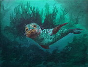 Aquatic Drawings Posters - Seal Poster by Kathleen Kelly Thompson