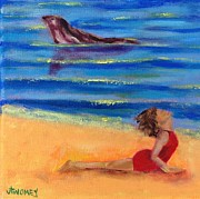Woman Doing Yoga Paintings - Seal of Yoga by Valerie Twomey