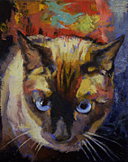 Feline Paintings - Seal Point Siamese by Michael Creese