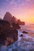 Waves Splash Posters - Seal Rock Sunset Poster by Darren  White