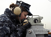 Handset Framed Prints - Seaman Uses A Sound-powered Phone Framed Print by Stocktrek Images