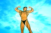 Stock Photography Male Model Digital Art Posters - SEAN PATRICK  Muscle at Dawn Poster by Jake Hartz