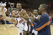 Basketball Players Prints - Sean Singletary and Lars Mikalauskas Celebrate UVA Win Over Arizona Print by Jason O Watson