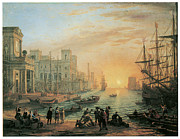 Seaport Posters - Seaport at Sunset Poster by Claude Lorrain