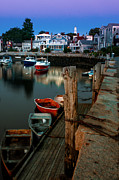 Skiffs Framed Prints - Seaport Village of Rockport from the Wharf Framed Print by Thomas Schoeller
