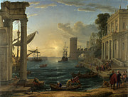 Famous Artists - Seaport with the Embarkation of the Queen of Sheba by Claude Lorrain