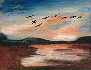 Geese Pastels - Searching for a Better Place by R Kyllo