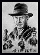 Film Star Drawings Posters - Searching for the Crystal Skull Poster by Andrew Read