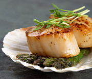 Pea Photos - Seared scallops by Jane Rix