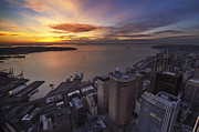 Elliott Prints - Searing Skies Above Seattle Print by Mike Reid
