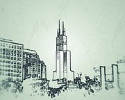 Willis Tower Digital Art - Sears by Kevin Klima