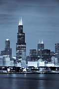 Tower Photo Framed Prints - Sears Tower in Blue Framed Print by Sebastian Musial