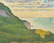 Sea View Posters - Seascape at Port en Bessin Normandy Poster by Georges Seurat
