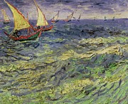 Enjoying Painting Framed Prints - Seascape at Saintes-Maries 1888 Framed Print by Vincent van Gogh
