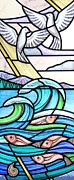 Mountains Glass Art Framed Prints - Seascape Framed Print by Gilroy Stained Glass