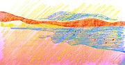 Warm Summer Drawings Prints - Seascape Limassol Cyprus Print by Anita Dale Livaditis