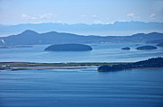 High Vantage Point Posters - Seascape of Ocean and Islands San Juan Islands WA Poster by Valerie Garner