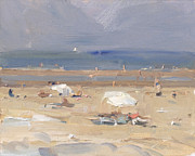 Parasols Paintings - Seascape summer 12 Two white parasols by Roos Schuring
