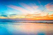 Peaceful Scenery Digital Art Posters - Seascape Sunset Poster by Adrian Evans