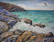Albatross Paintings - Seascape With Albatross by Donna Greenstein