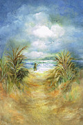 Oats Mixed Media Prints - Seascape With Fisherman Print by Nancy Gorr