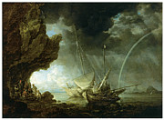 Transportation Painting Posters - Seascape with Sailors Sheltering from a Rainstorm Poster by Bonaventura Peeters