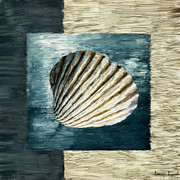 Shell Pattern Digital Art Framed Prints - Seashell Souvenir Framed Print by Lourry Legarde