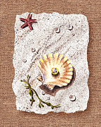 Seashell Fine Art Painting Prints - Seashell With The Pearl Sea Star And Seaweed  Print by Irina Sztukowski