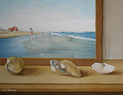 Park Scene Paintings - Seashells by the Jersey Shore by Lauren Sweeney