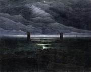 Hamburg Painting Prints - Seashore by Moonlight Print by Caspar David Friedrich