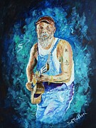 Slide Painting Prints - Seasick Steve Print by Joe Trodden