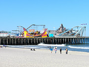 Jet Star Photo Metal Prints - Seaside Casino Pier Metal Print by Neal Appel