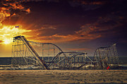 Roller Coaster Metal Prints - Seaside Coaster Metal Print by Kim Zier