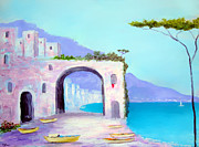 Coastal Art Posters - Seaside Colors Of Southern Italy Poster by Larry Cirigliano