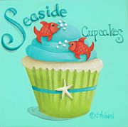 Lime Green Framed Prints - Seaside Cupcakes Framed Print by Catherine Holman