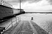 Seaside Heights Beach In Black And White Print by John Rizzuto