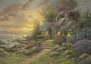 Cottage Framed Prints - Seaside Hideaway Framed Print by Thomas Kinkade