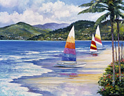 Pallet Knife Painting Posters - Seaside Sails Poster by John Zaccheo