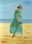 Blue And Green Paintings - Seaside Stroll by Vicky Watkins