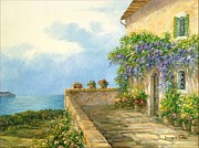 Sicily Paintings - Seaside Terrace by Luciano Torsi