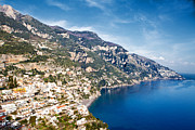 Holiday Photo Prints - Seaside town on the Amalfi Coast Print by Susan  Schmitz