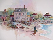 New England Village  Paintings - Seaside Village by Sherri Crabtree