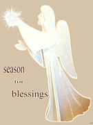 Gold Angel Card Posters - Season For Blessings Card Poster by Debra     Vatalaro