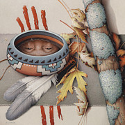 Pencil Native American Drawings - Season Of Remembrance by Amy S Turner