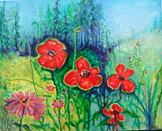 Poppies Field Paintings - Seasonal Changes by Karen Roncari