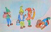 Winter Prints Drawings - Seasonal Elves by True Vine Gallery-- Donna E Dixon