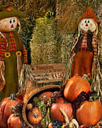 Cornucopia Painting Metal Prints - Seasonal Pumpkins  Metal Print by Peter Piatt